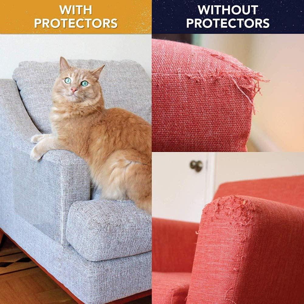 Furniture Protectors From Cats Residue Free Strong Viscosity Scratch Protection Tapes For Pet 9 Pack/Couch Guard Anti Cat Scratching Products with 3pc 0.01mm 15x40cm 6pc 0.02mm 30x40cm 64 Twist Pins