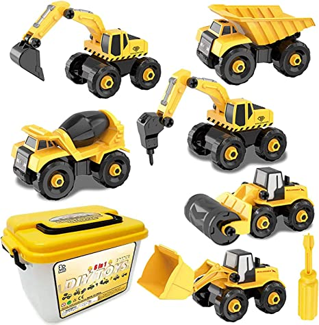 ANUCHGE Take Apart Toys for Boys STEM Building Toy Set Construction Engineering Play Toys Learning Push and Go Cars for Kids Age 3 4 5 Year Old Boys Girls Birthday Gifts 4PCS