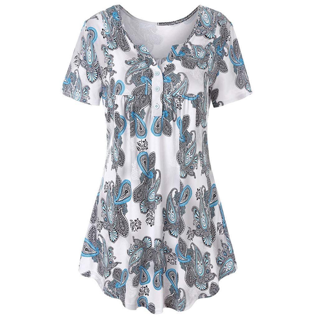 I613 Womens Plus Size Tops Vintage Short Sleeve V Neck Pleated Tunic Shirt Butterfly Print Blouse