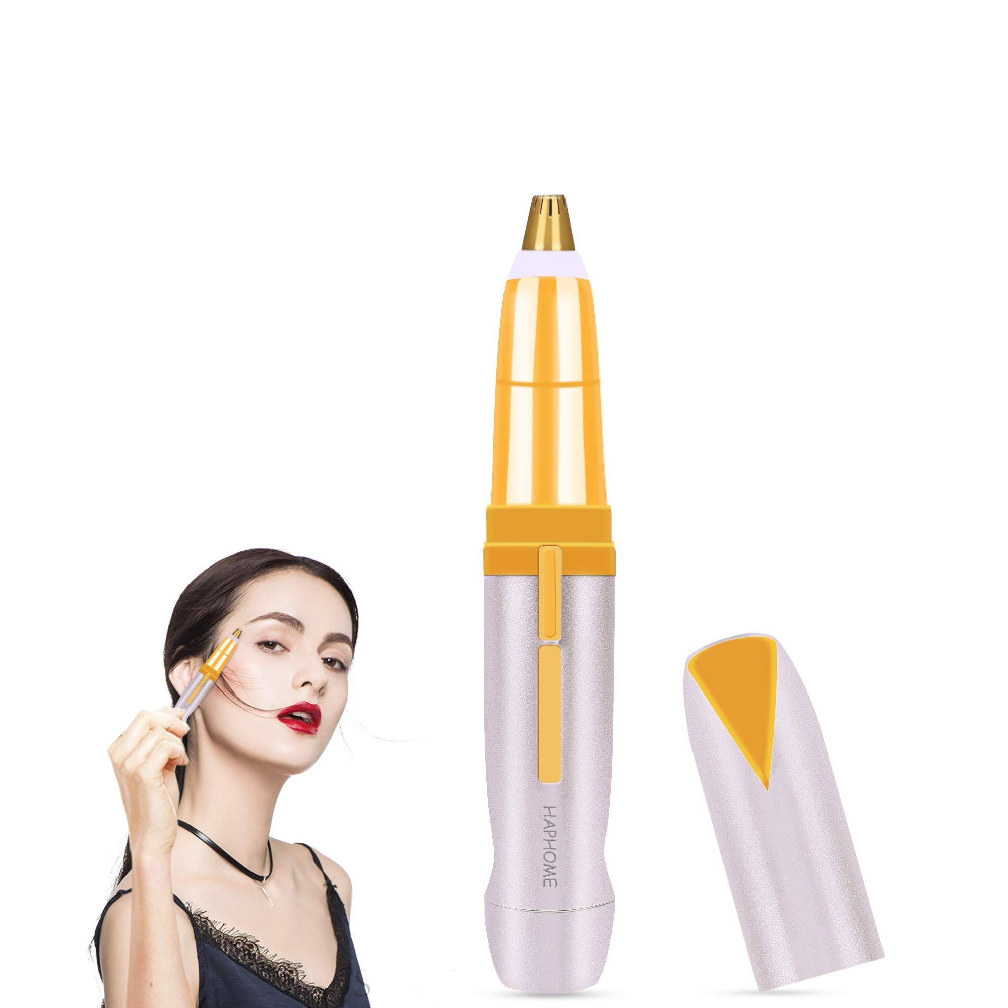 Haphome Painless Eyebrow Hair Remover for Women Best Eyebrow Trimmer, Protable Brows Hair Remover for Good Finishing and Well Touch (Silver)