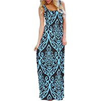 BLUETIME Women's 3/4 Sleeve Bohemian Floral Empire Waist Flowy Maxi Long Dresses with Pockets