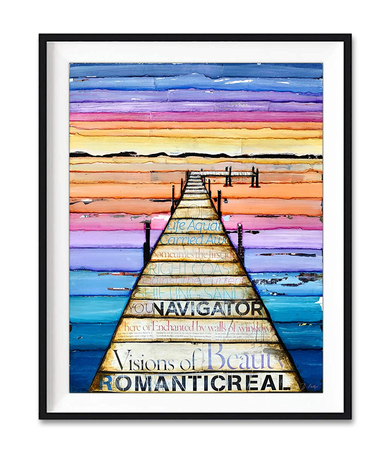Pier Pressure - Danny Phillips Art Print, Unframed, Dock on Lake at Sunset Mixed Media Collage Painting, Colorful Vibrant Artwork Wall Decor, Fine Art Poster, All Sizes