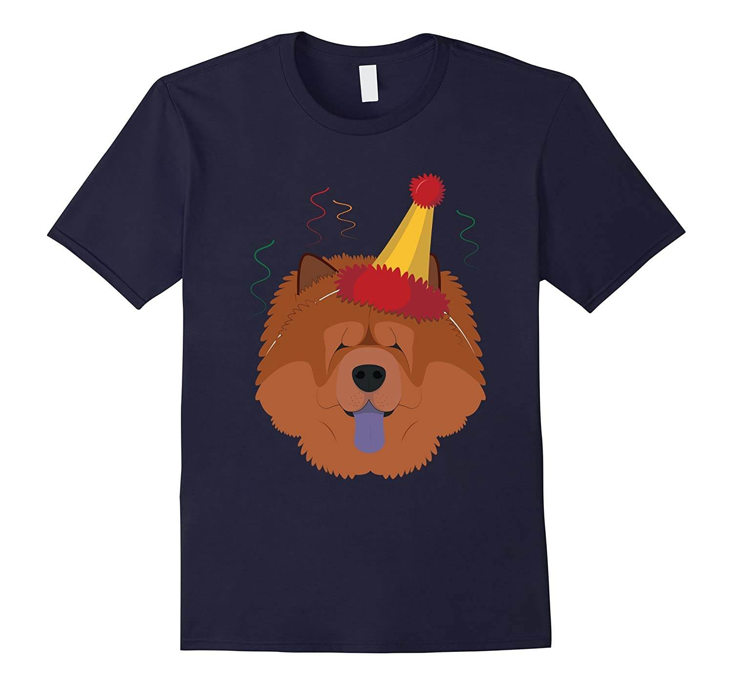 Chow Chow Dog Wearing A Party Hat Funny Xmas Tshirt-ANZ