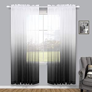 Modern Decorative Unique Faux Linen Ombre Semi Sheer White and Black Sheer Curtains for Living Room Bedroom Boys Room Decor Teen 52 x 84 Length 2 Windows Curtain Set Panels Rod Pocket
