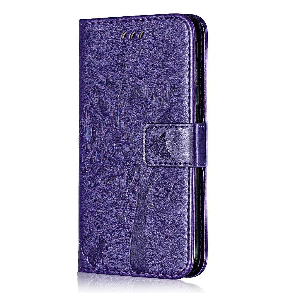Coque Huawei Mate 9, Bear Village® Magnetique Étui en PU Cuir avec Fentes Carte de Crédit, Huawei Mate 9 Gaufrage Portefeuille Housse Coque (#9 Violet)