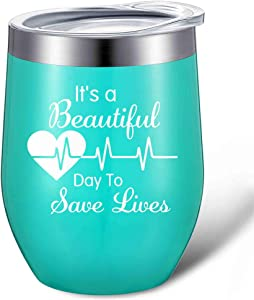 It's a Beautiful Day to Save Lives, Funny Nurse Doctor Tumbler Gifts for Women, 12 oz Insulated Stainless Steel Mug Nursing Wine Tumbler with Lid and Gift Box (Mint Green)
