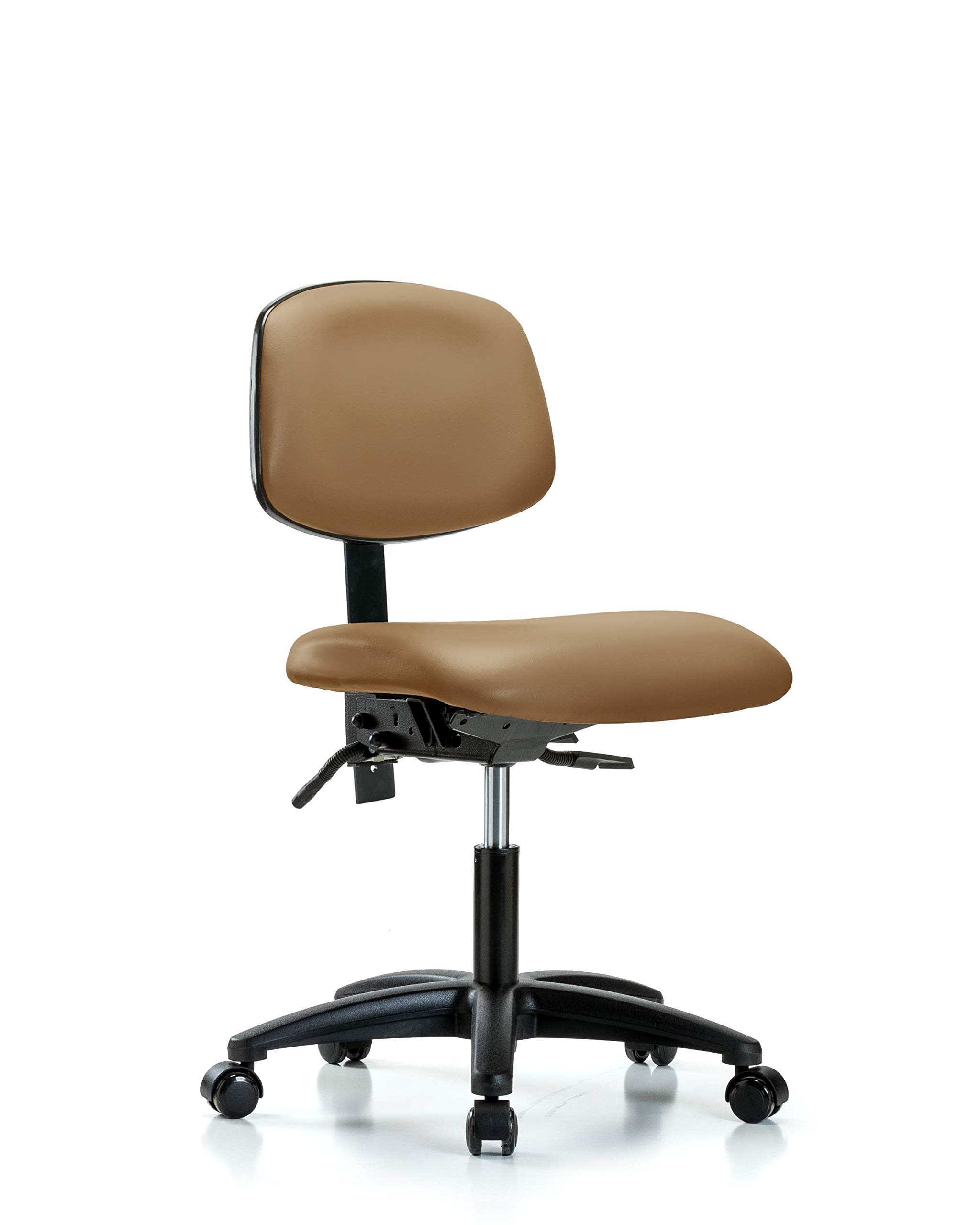 LabTech Seating LT44212 Desk Height Chair, Vinyl, Nylon Base - Casters, Taupe