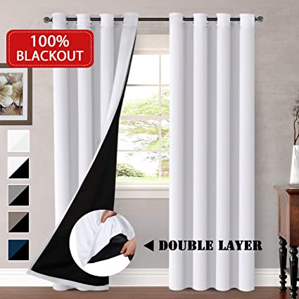Amazon.com: H.VERSAILTEX 100% Blackout White Curtains for Bedroom ...