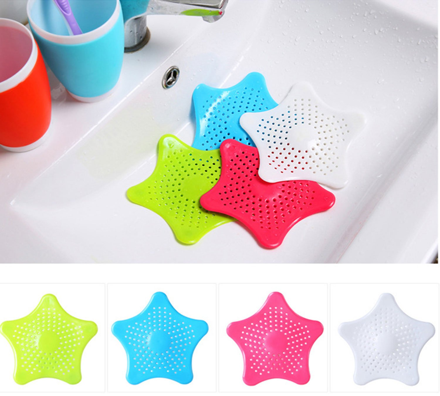 FANYI 1*4PCS Colorful Drain Hair Catcher Strong Suction Bath Stopper Strainer Filter Shower Cover Durable Outlet Hair Filtration Tub Drain Protector 15.2*15.2CM (Blue, Green, White, Rose Red) by FANYI FANYI iHOME