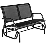 Esright 2 Seats Outdoor Swing Glider Loveseat Chair with Powder Coated Steel Frame, Garden Rocking Seating, Patio Bench for 2