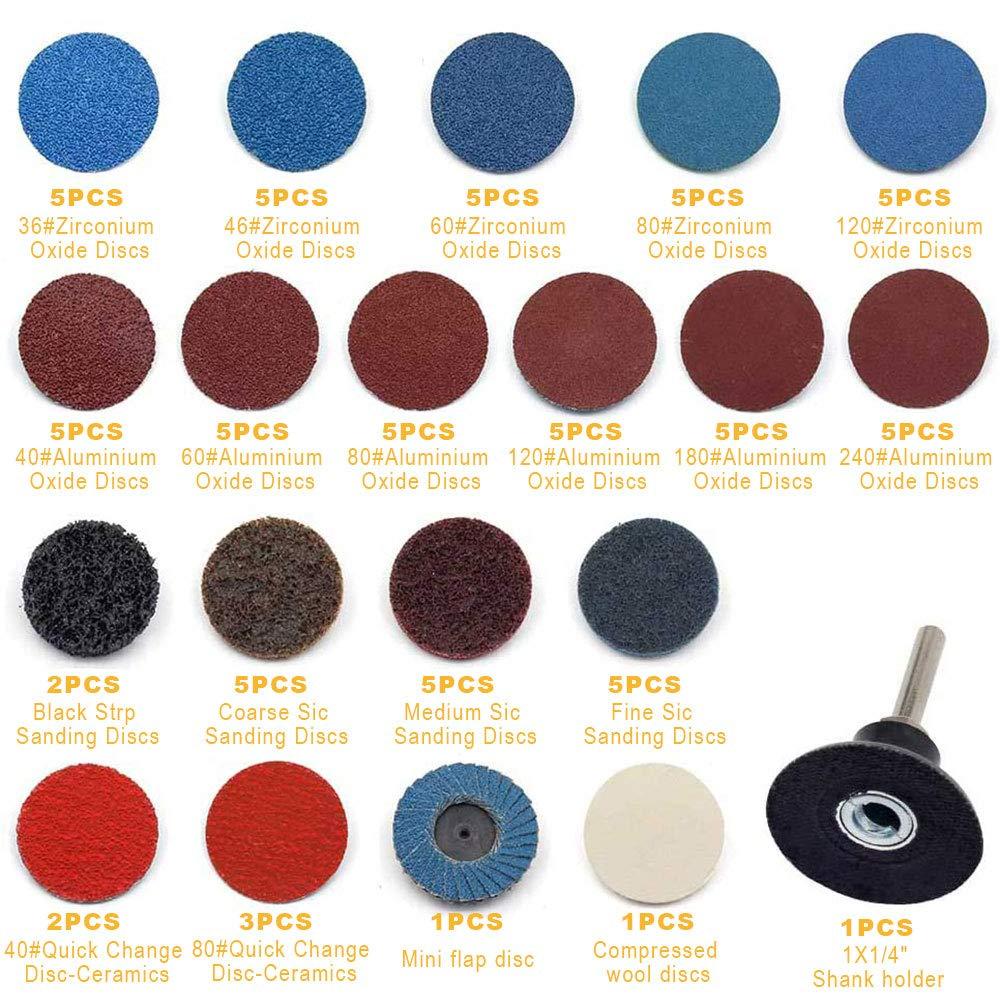 80 piezas de discos de lijado de 2y juego de soporte de v/ástago de 1//4 Roloc Kit de rueda de tiras de disco de lijado de cambio r/ápido para amoladora