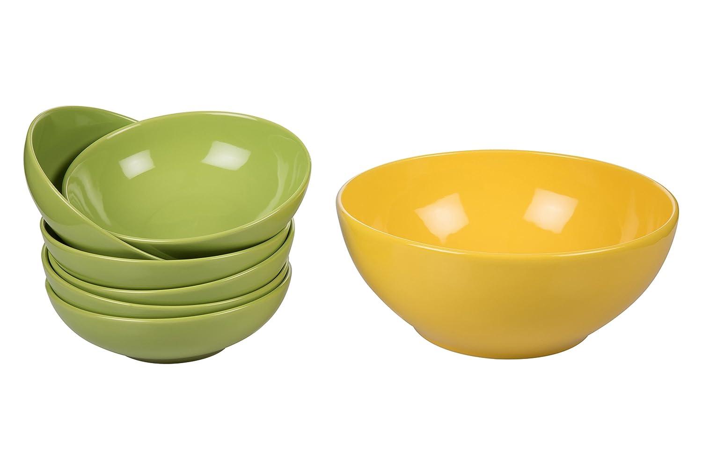 Kaleidos Classico Set da Spaghettata in Gres Tortora E Giallo-7 Pezzi 26.5x26.5x9 cm 7 unit/à 1 Ciotolona 26 E 6 Ciotole Cm 18 Verde Ceramica
