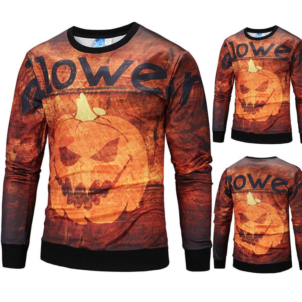 Mens 3D Print Halloween Scary Pumpkin Blouse Casual Party Long Sleeve Top Blouse By Farjing (M,Orange)