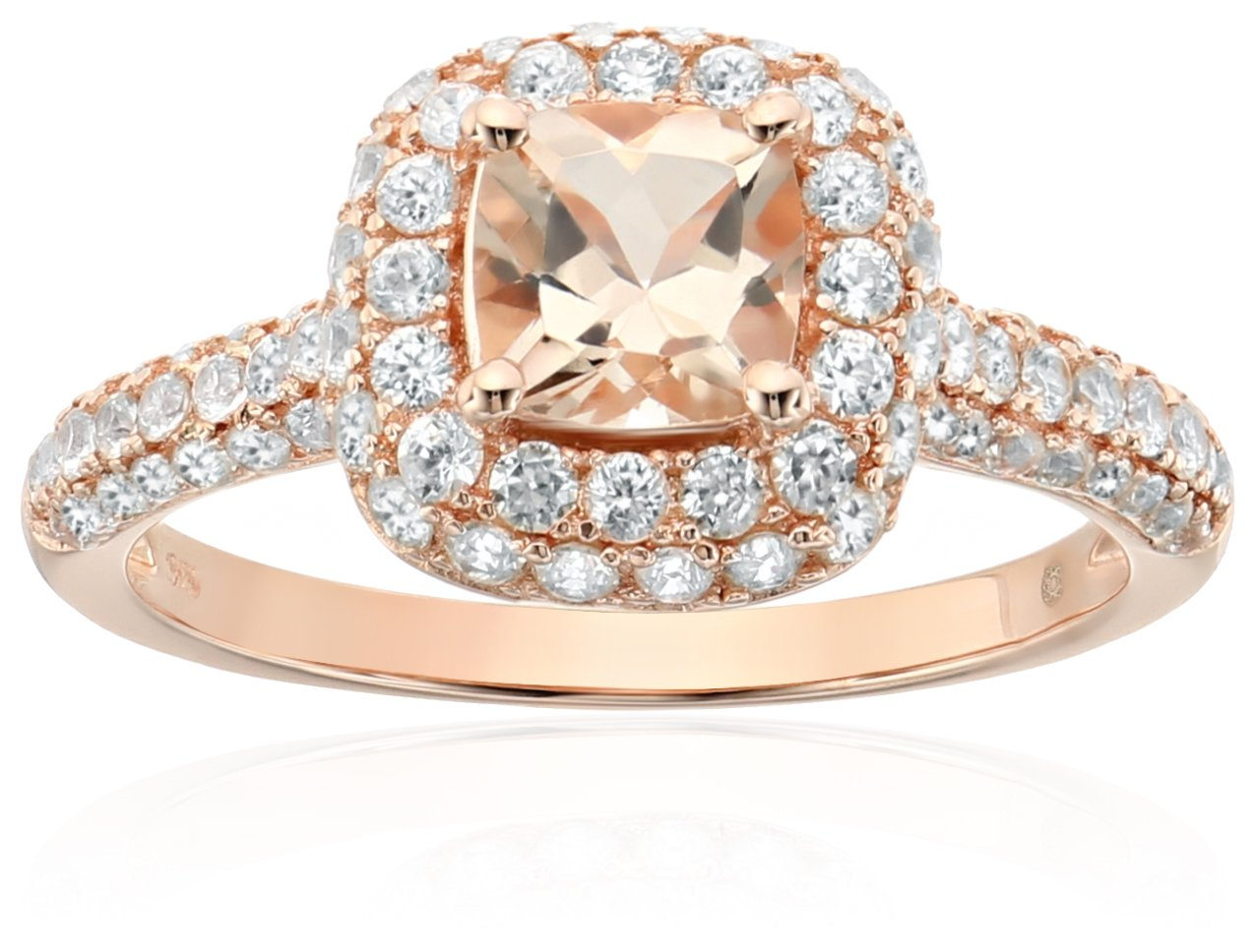 Rose Gold-Plated Silver Morganite Cushion Halo Engagement Ring, Size 7