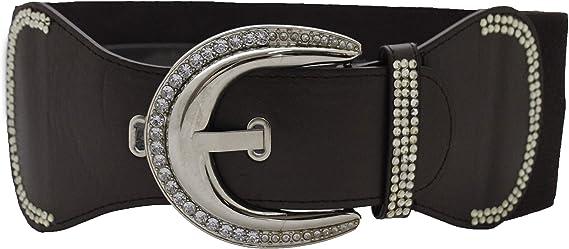 Women Dressy Trendy Black Faux Leather Belt Hip Silver Metal Bling Buckle S M