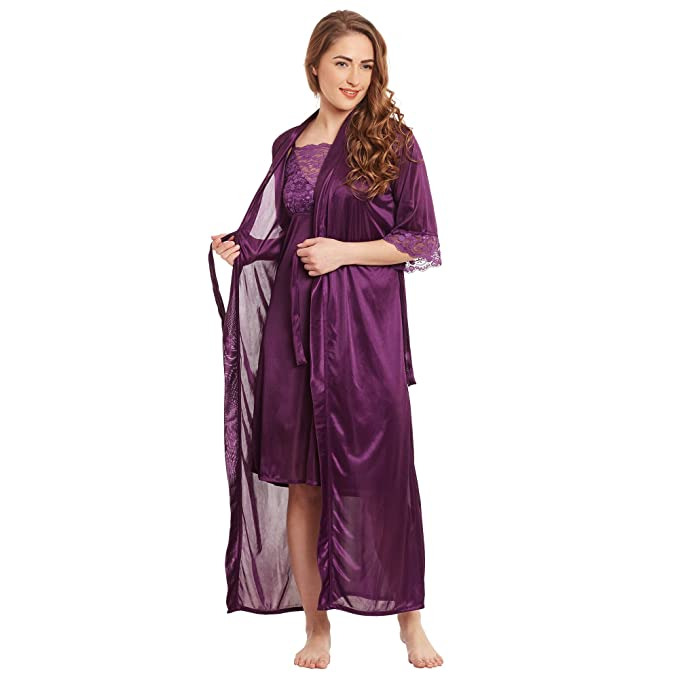 Claura Satin Stylish Nighty with Robe with net Work (Large) (Medium) ( 25663d82a