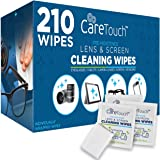 Care Touch Lens Cleaning Wipes - 210 Pre-Moistened and Individually Wrapped Lens Cleaning Wipes - Great for Eyeglasses, Table