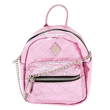 19d5d3e71618 Claire s Girl s Metallic Quilted Mini Backpack Crossbody Bag - Pink ...