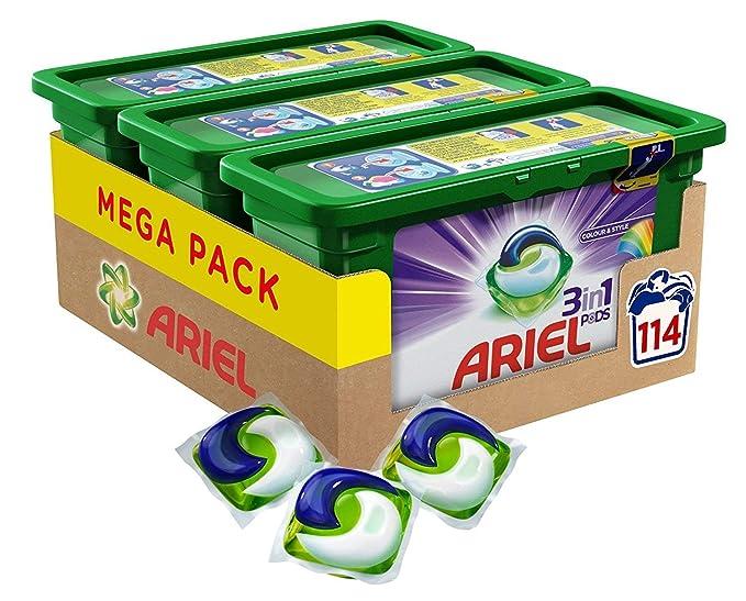 Ariel vainas de 3 en 1 color y estilo lavado cápsulas – Paquete de 3 (