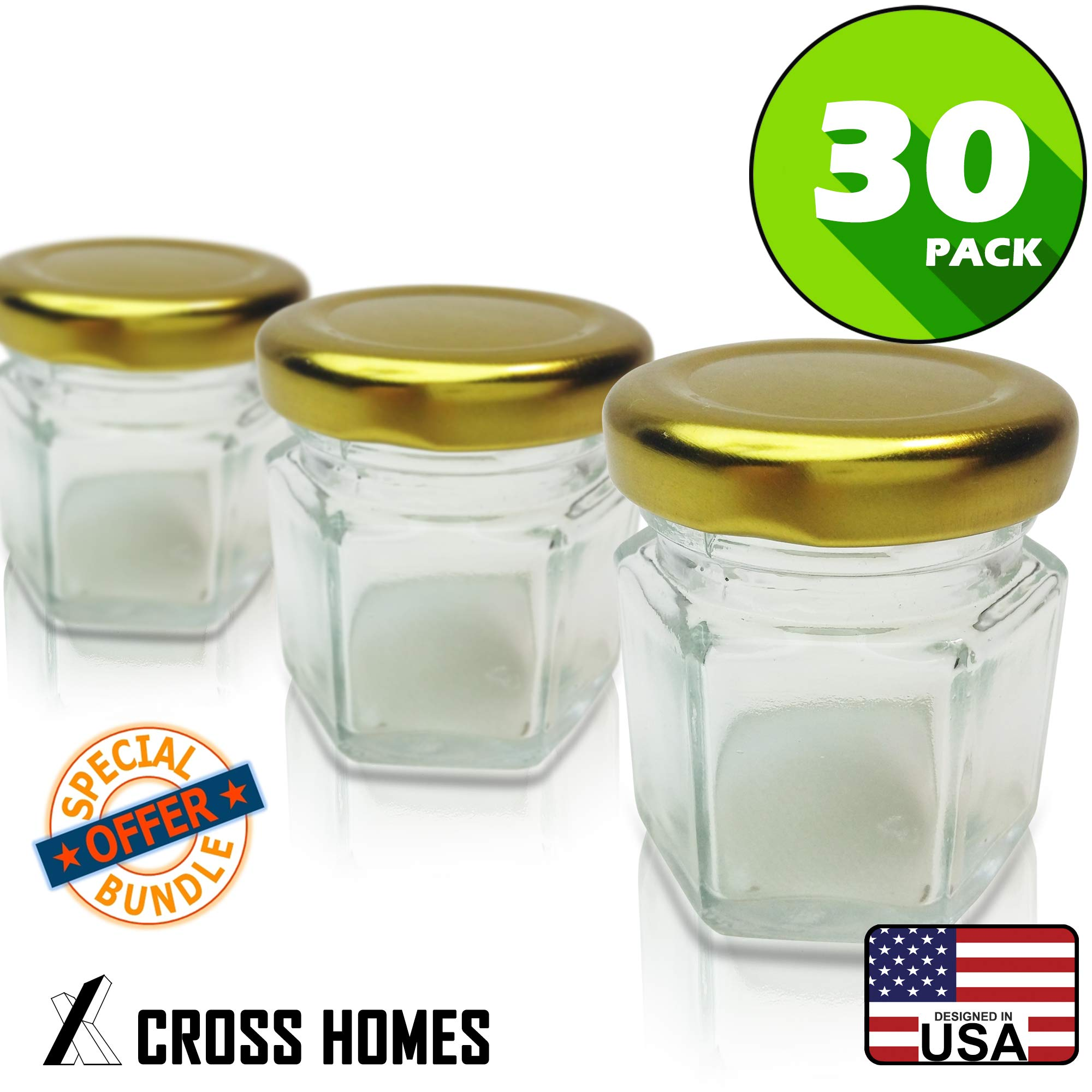 Hexagon Jars Gold Lid (30pcs 1.5 oz) Hexagon Glass Jars with 30pcs Gold Plastisol Lined Lids for Jam Honey Jelly Wedding Favors Baby Shower Favors Baby Food DIY Magnetic Spice Jars Crafts Canning Jars by CROSS.