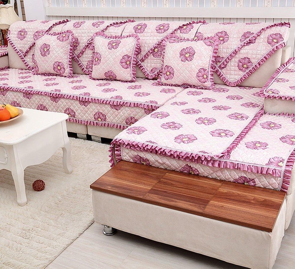 ローズ - 紫赤いヨーロッパスタイルのソファクッション、布クッション、四季シンプルでモダンな非スリップソファカバー ( サイズ さいず : 110*240cm ) 110*240cm  B078NLP73G