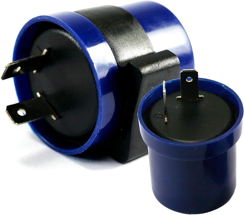 2 St/ücke 12 V 80 Watt Relais Blink F/ür Motorrad Blaue Anzeige Blinkrelais Led 2 Pin Universal