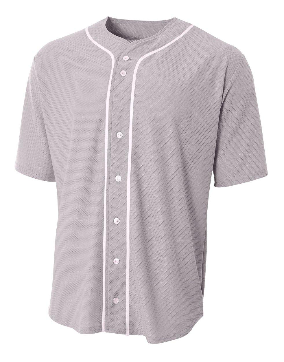 A4 N4184-GRY Shorts Sleeve Full Button Baseball Jersey, Medium, Gray