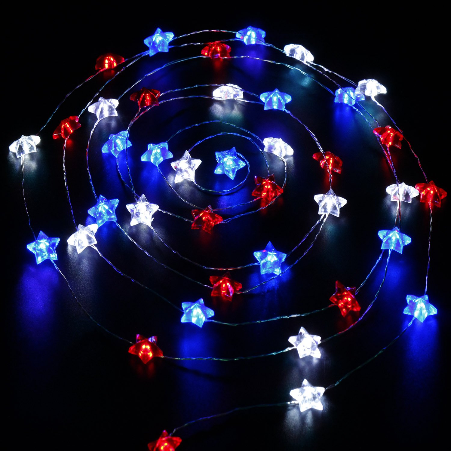 Impress Life Independence Day Decor, USA American Stars Flag Lighting for 4th of July, 10ft 40 LEDs Red White Blue String Lights Battery with Remote Patriotic Decoration Memorial Day Presidents Day