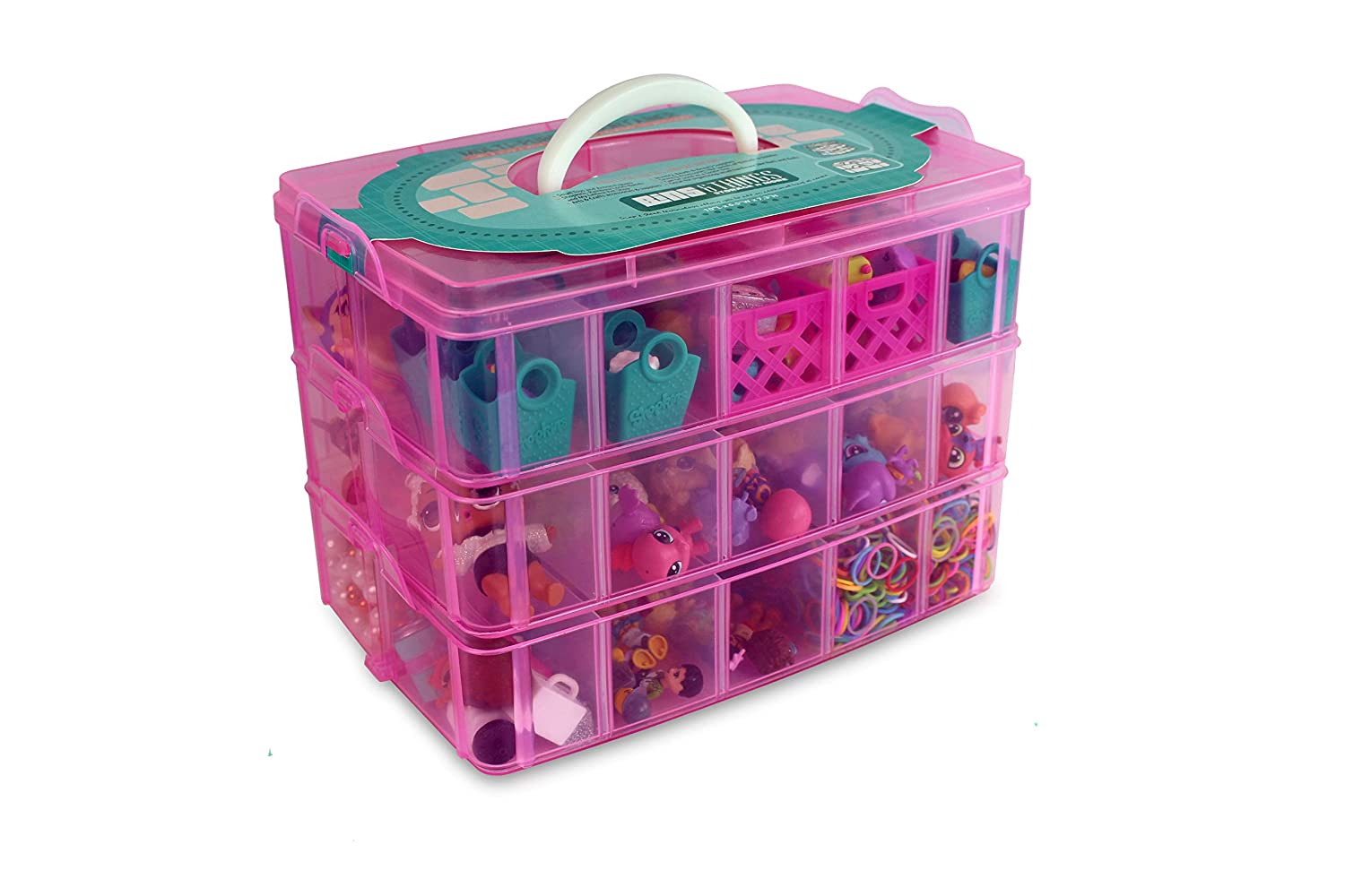 Bins & Things Stackable Storage Container for Shopkins Littlest Pet Shop Rainbow Loom Beads Disney Tsum Tsum Figures and Arts & Crafts Accessories with 30 Adjustable Compartments, Pink Pink_Large