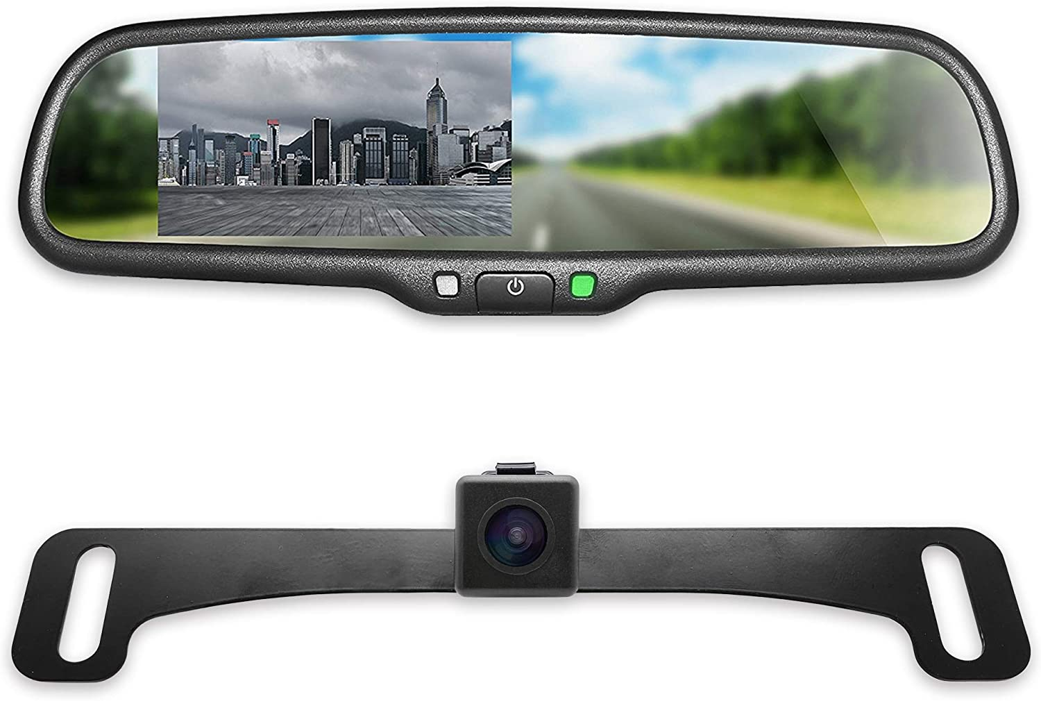 "Combo Master Tailgaters OEM Rear View Mirror with 4.3/"" LCD Screen and Waterproof 170/° Backup Camera Kit CMR-43-A1"