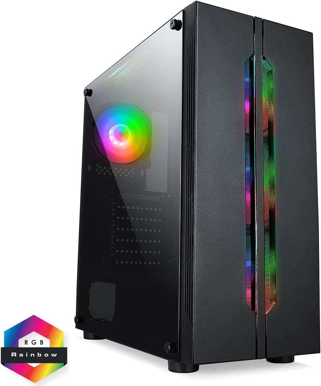 CiT Volcano ARGB - Caja de Ordenador para Juegos, ATX, 4 Ventiladores ARGB Rainbow incluidos, Cristal Templado, botón LED, 6 Ventiladores de Ventilador, Listo para refrigeración por Agua | Negro: Amazon.es: Informática