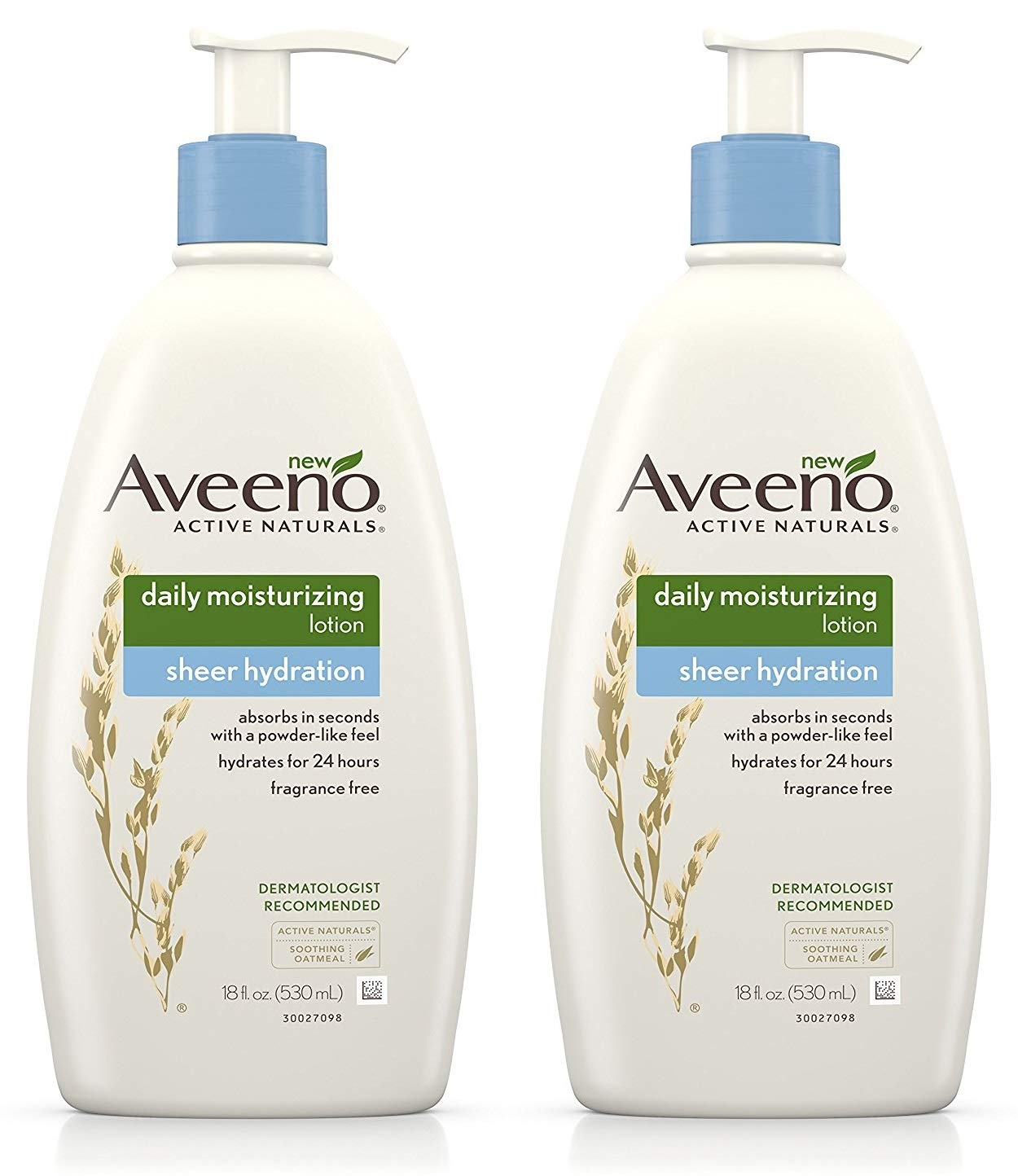 Aveeno Active Naturals - Daily Moisturizing Lotion - Sheer Hydration - Fragrance Free - Net Wt. 18 FL OZ (530 mL) Per Bottle - Pack of 2 Bottles