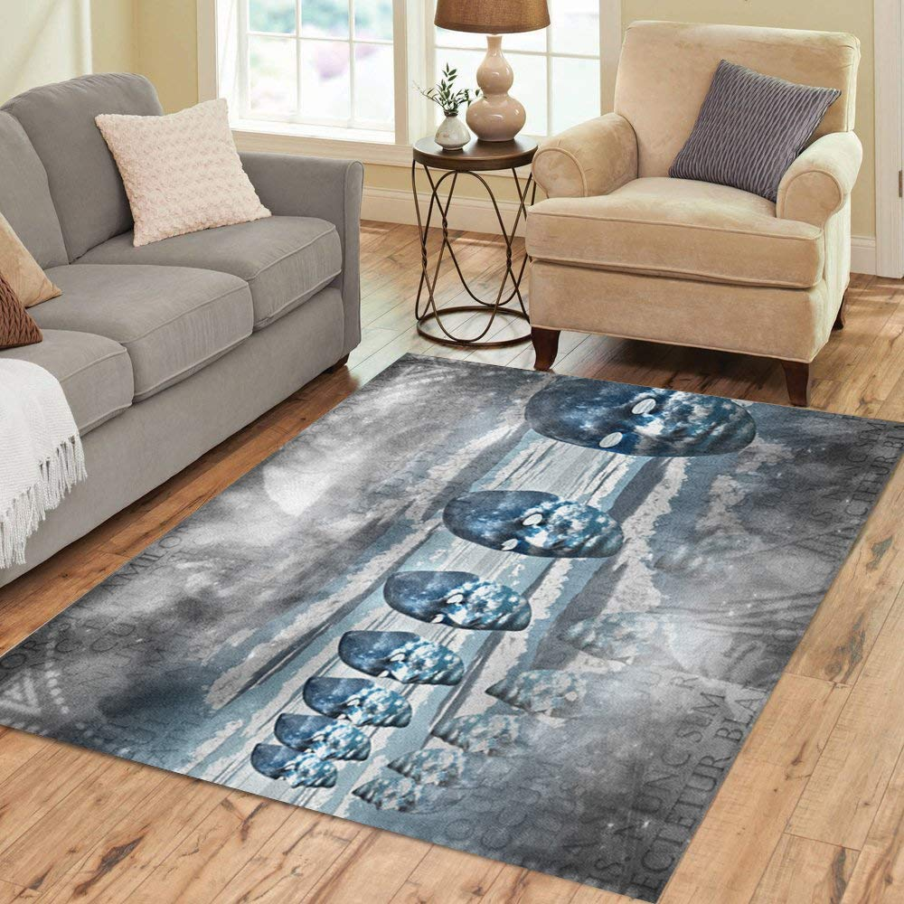 Semtomn Area Rug 2' X 3' Blue Dreamscape Faces Empty in Abstract Composition Mystic Home Decor Collection Floor Rugs Carpet for Living Room Bedroom Dining Room