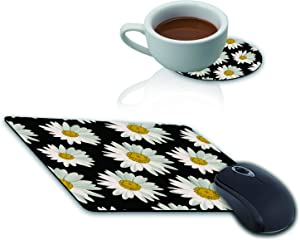 Mouse Pad and Coaster Set, White Daisy Flowers Black Background Mouse Pad Rectangle Non-Slip Rubber Mousepad Office Accessories Desk Decor Mouse Mat for Desktops Computer Laptops