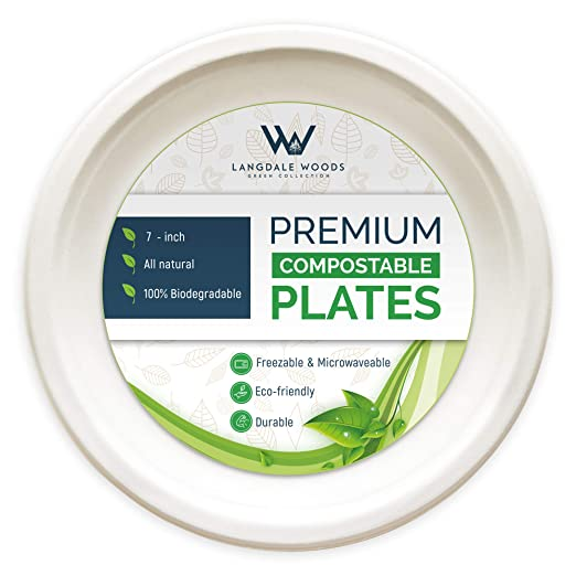 Platos compostables Langdale Woods, platos biodegradables de 7, 9 ...