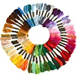 LAOZHOU Cross Stitch Floss 50/100 Skeins Premium Rainbow Color Embroidery Floss Sewing Threads (50 Skeins)