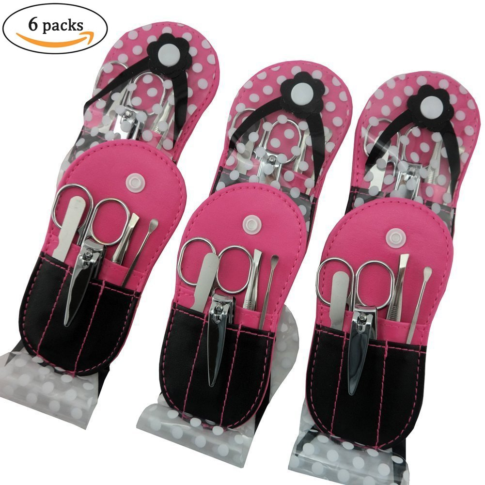 Spove Manicure Sets Pedicure Set Polka Dot Flip Flop Nail Clippers Manicure Kit Nail pack of 6 Hotpink
