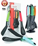Utensils Set, 7-piece Nylon Cooking & Serving Kitchen Tools inc. Organizing 360° Rotating Stand, Kitchen Accessories Gadgets - Spatula, Turner, Ladle, Spaghetti Server, Slotted & Solid Spoon