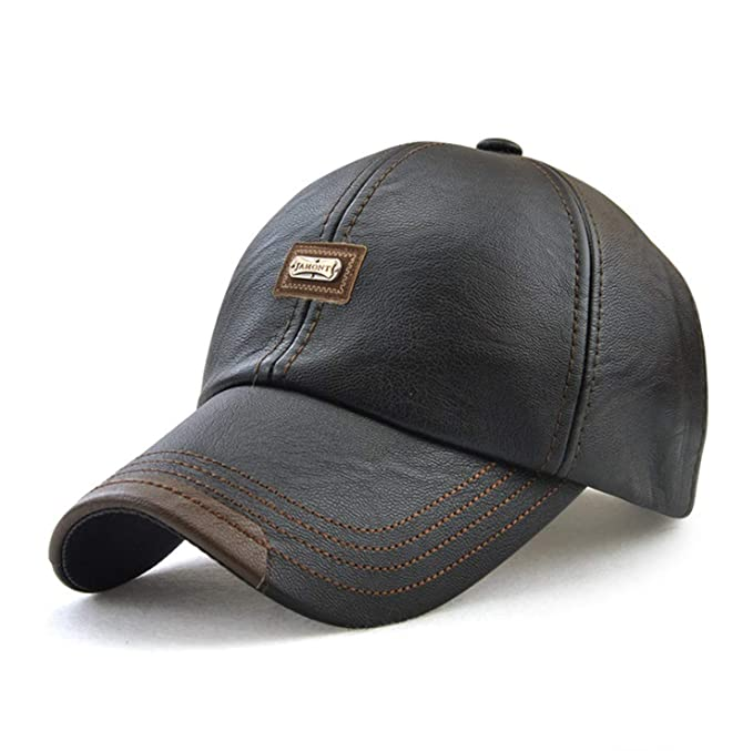 436f34c0 Men Baseball Cap 2019 Snapback Hat PU Leather Hats Male Fashion Caps  Casquette,Black,
