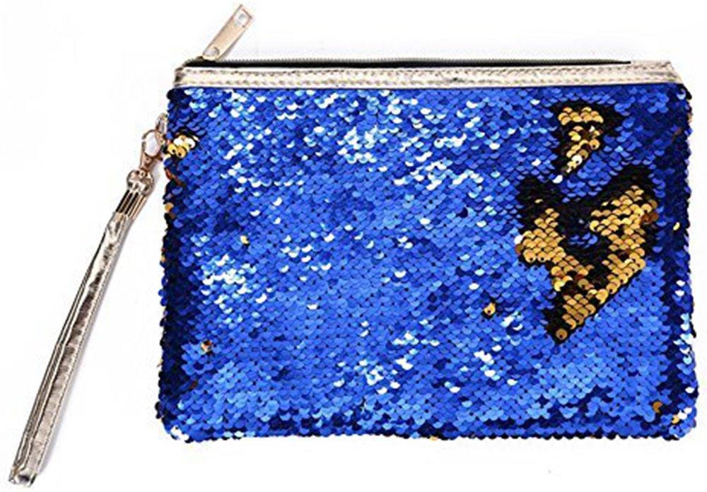 ROOSSI Mermaid Sequins Cosmetic Bag Bling Clutch Handbag Evening Clutch Envelope Bag Zipper Makeup SapphireBlue