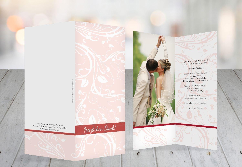 Kartenparadies Danksagung für Hochzeitsgeschenke Hochzeit Dankeskarte Blättertraum, hochwertige Danksagungskarte Hochzeitsglückwünsche inklusive Umschläge   10 Karten - (Format  105x215 mm) Farbe  RosaRosa B01N5RUYS4 | Hohe Qualit