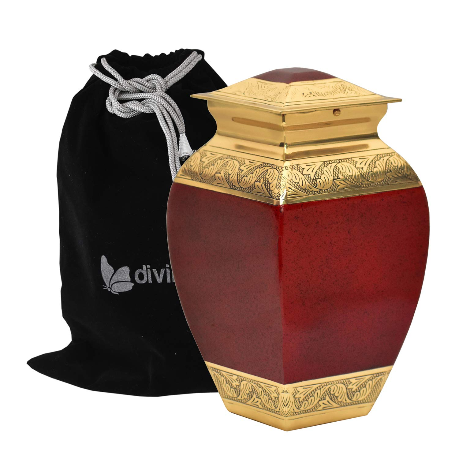 Zaffre Cremation Urn with Engraved Venus Bands - 100% Handcrafted Adult Urn - Solid Metal Large Urn for Human Ashes - Funeral Urn with Free Bag (Red)
