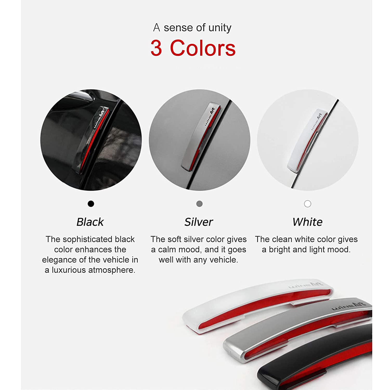 WineArt Autoban 4Pcs Car Side Door Edge Guard Anti-Scratch Protector//High Intensity Reflector//Arched Three-Dimensional Design//Elastic EVA Material