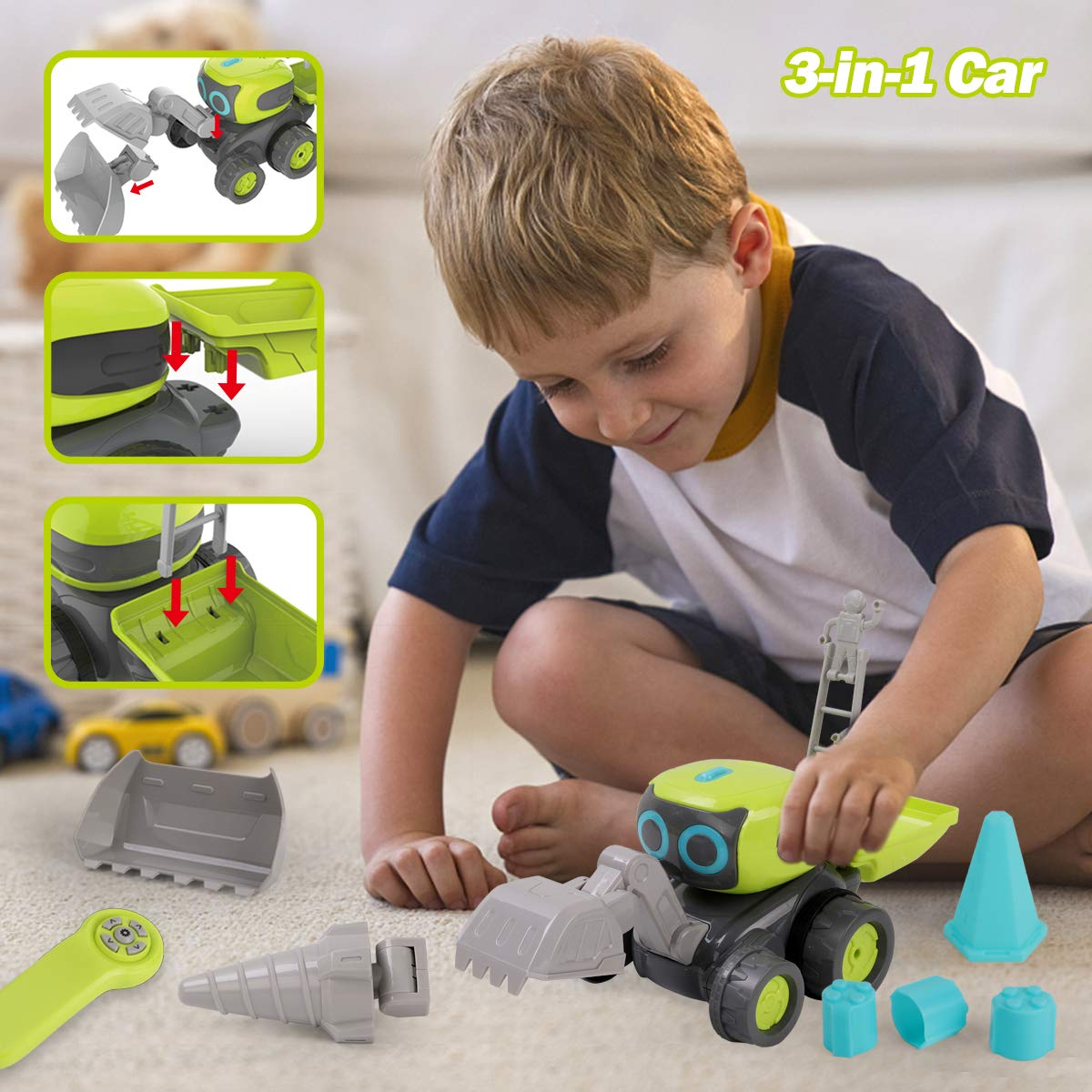Remoking STEM RC Remote Control Engineering Robot Vehicle Toy, Smart Intelligent Electronic Educational Construction Car, Interactive Novelty Funny Gift of Building Block for Ages 3 and up by REMOKING (Image #2)