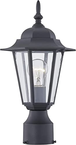 WISBEAM Outdoor Post Light, Pole Lantern, E26 Base 100W Max, Aluminum Housing Plus Glass, Wet Location Rated, ETL Qualified, Bulbs not Included Black Finish