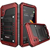 Metal Case for iPhone X Cell Phone Waterproof Protective Skins Smartphone Protector (Red)