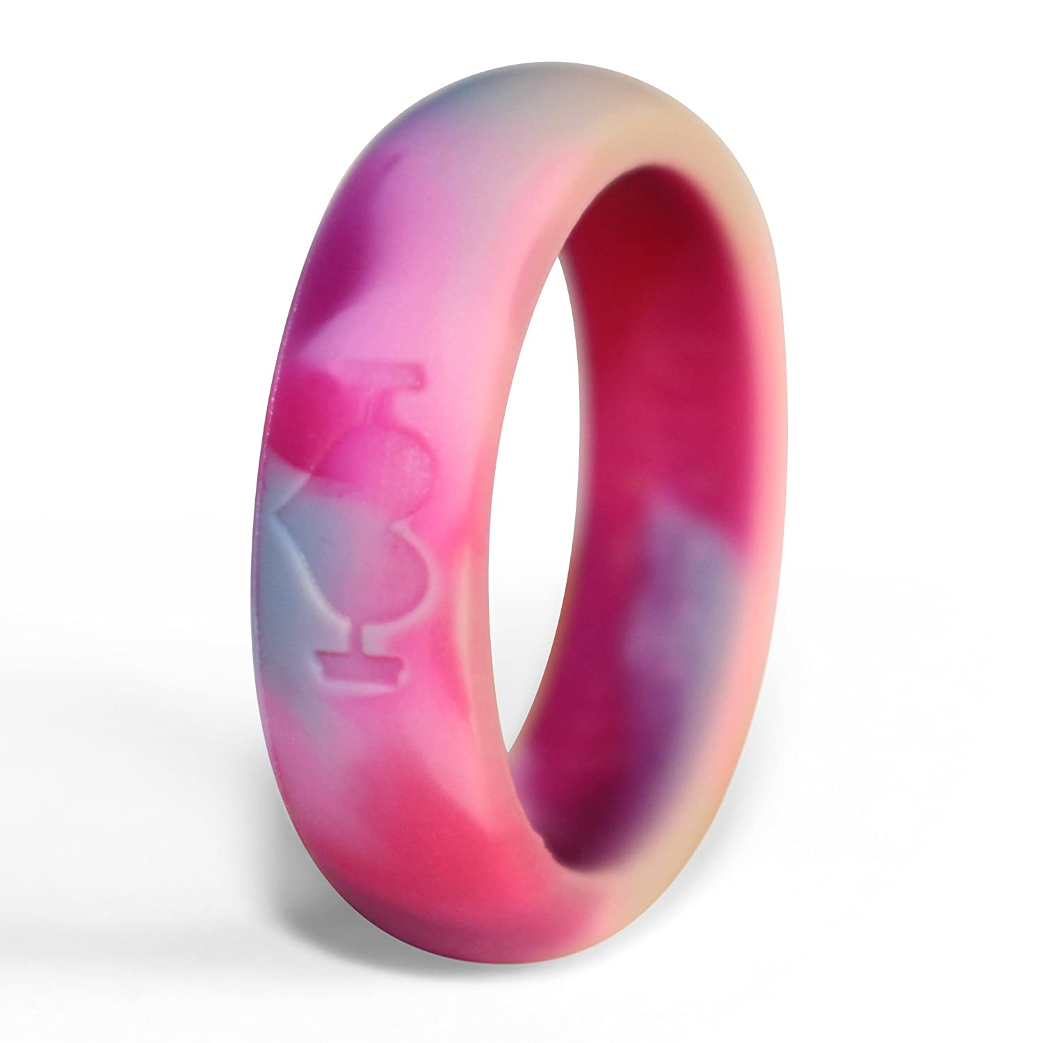 Pink Camo Silicone Wedding Rings for Women, Band Perfect for ...