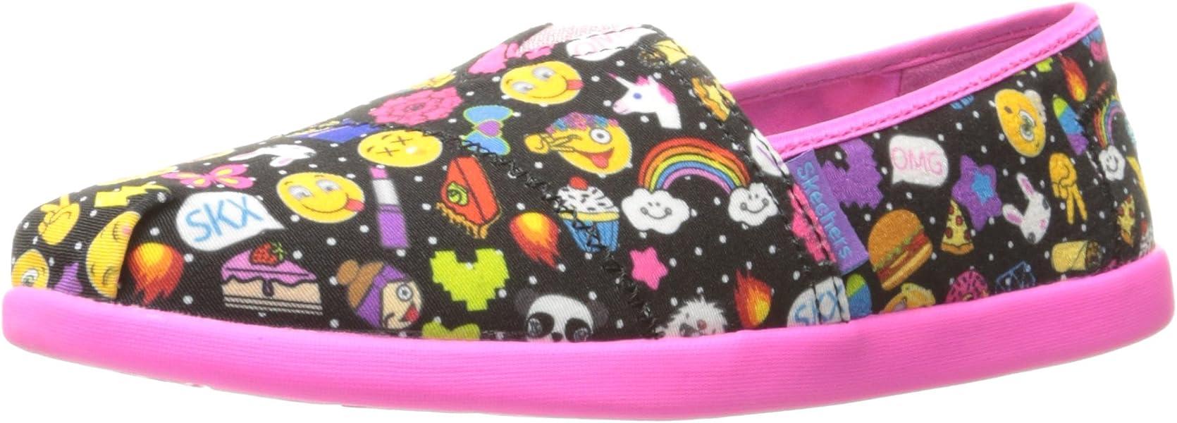Skechers Kids Girls Solestice Emoji Slip On Black Inside Flats Joyce Pink