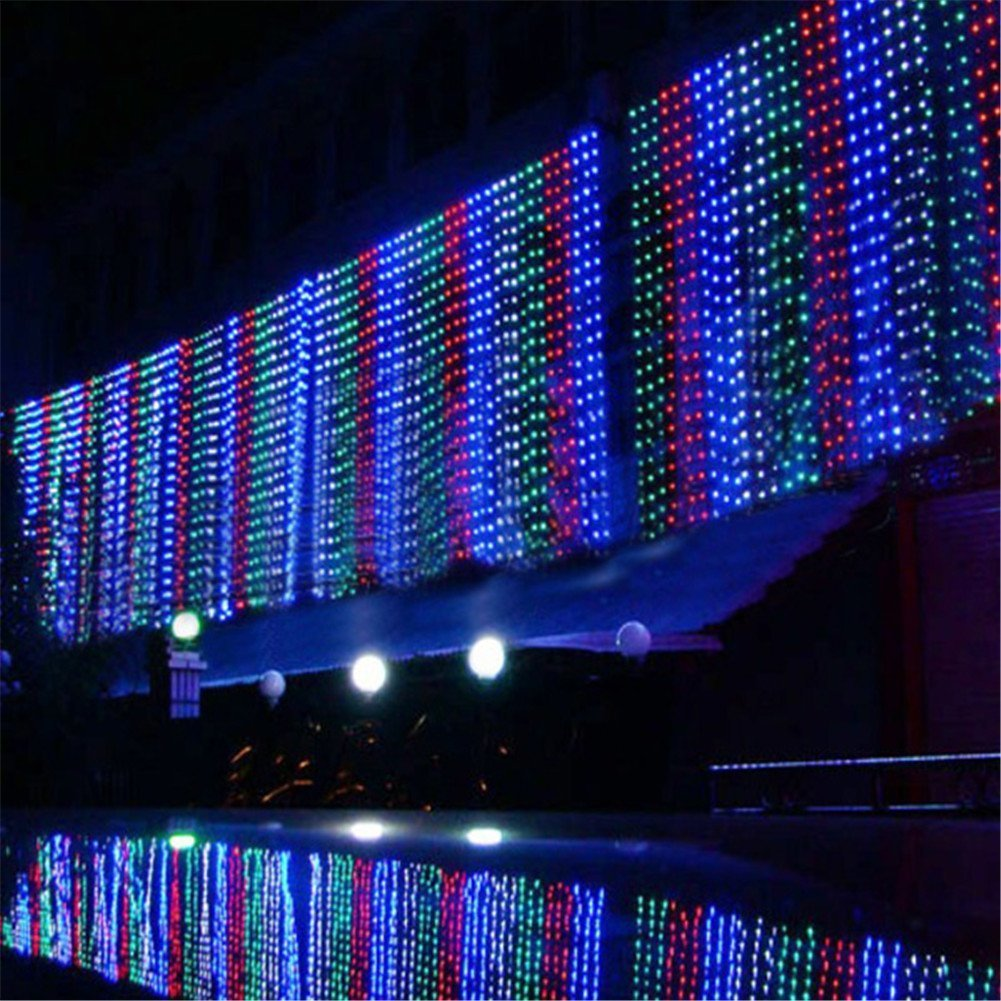 8 Modes 6m X 1m 256 LED Indoor Party Bar Christmas Xmas String Fairy Wedding Curtain Light No Waterproof (Colorful)