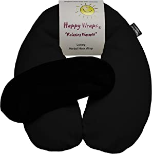 Happy Wraps Microwavable Neck Wrap Hot Cold Herbal Aromatherapy Neck Pain Relief Warming Pillow Heating Pad for Migraines Stress Relief Gifts for Women Men Christmas Plus a Free Gift - Black